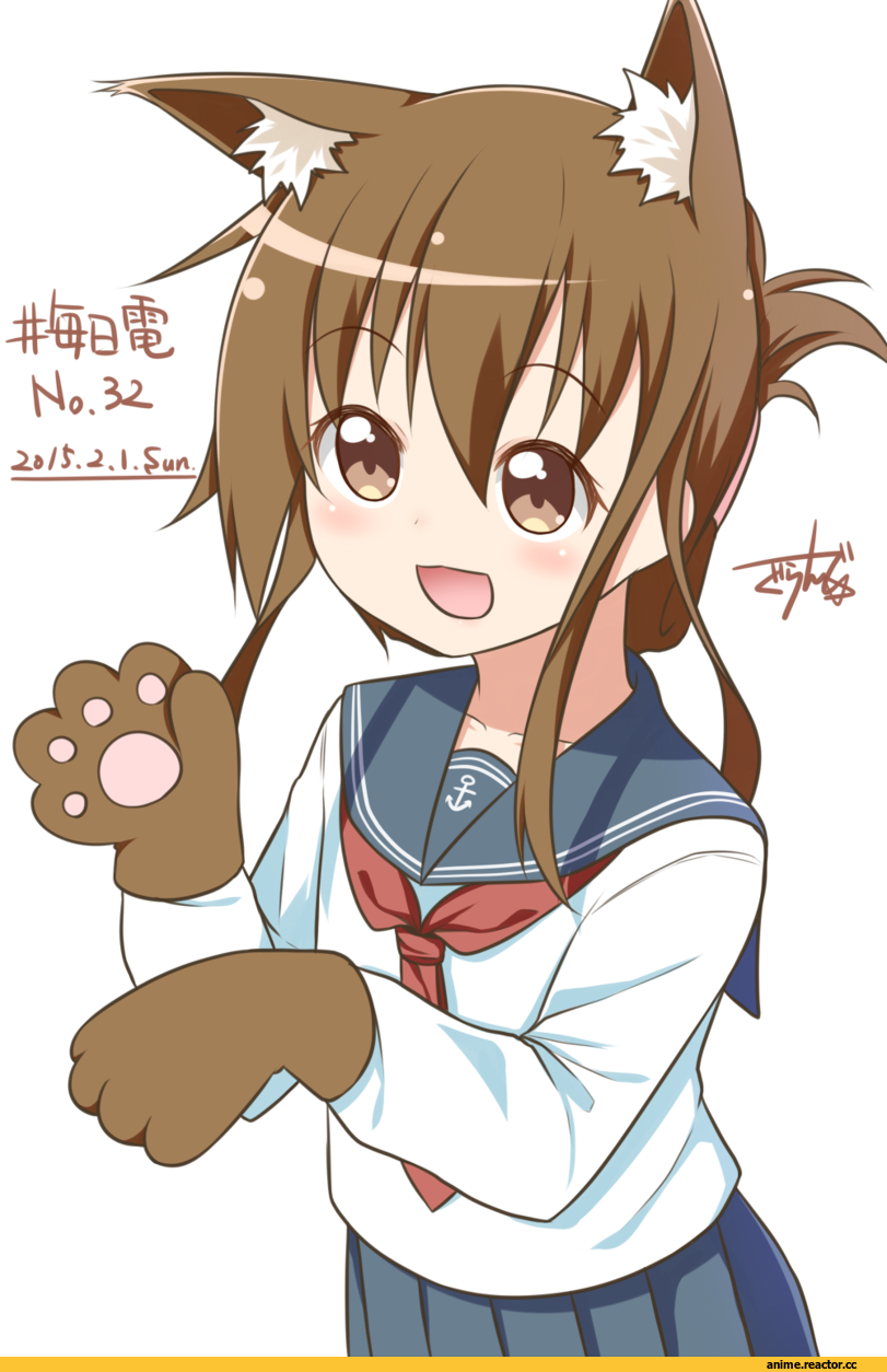 Inazuma (Kantai Collection), Kantai Collection, Gurande (g-size), nekomimi, Animal Ears, Anime
