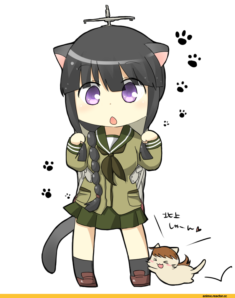 Kitakami (Kantai Collection), Kantai Collection, Ooi (Kantai Collection), nekomimi, Animal Ears, Anime Art, Anime