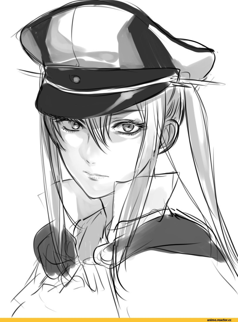 Graf Zeppelin, Kantai Collection, Anime Sketch, hoshino (cona), Monochrome (Anime), Anime