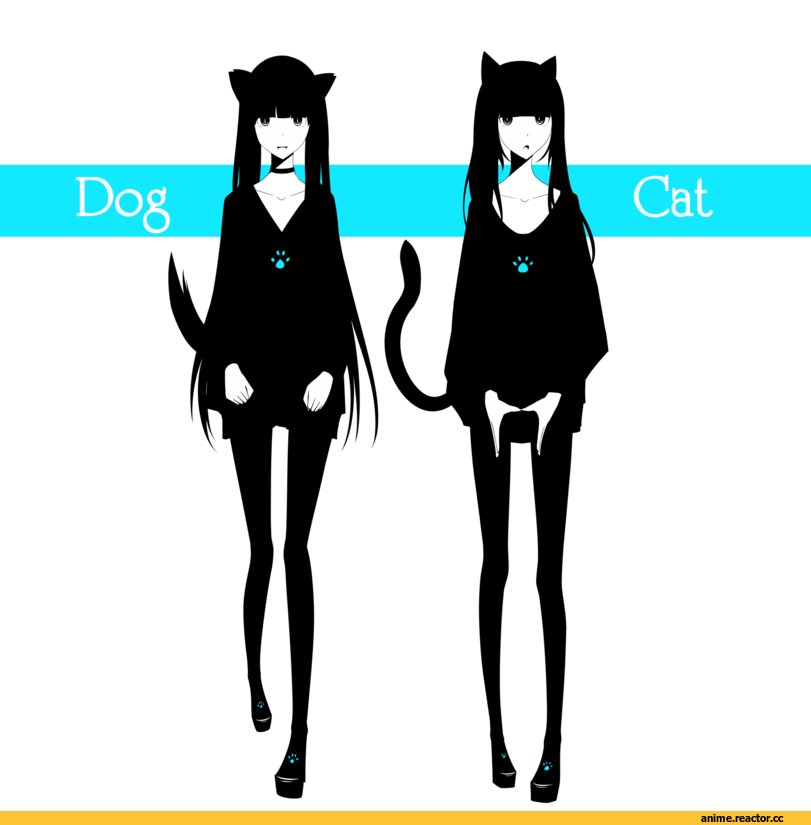 песочница, dog and kat, neko, Animal Ears, Inumimi, Anime