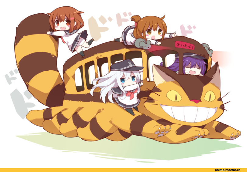 Watanohara, Inazuma (Kantai Collection), ikazuchi (kantai collection), Hibiki (Kantai Collection), Akatsuki, crossover, Миядзаки, мой сосед тоторо, chibi, котобус, Anime, Anime Art, Kantai Collection